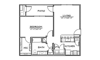 Mountain Laurel - 1 bedroom floorplan layout with 1 bath and 755 square feet
