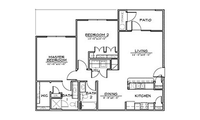 Redbud - 2 bedroom floorplan layout with 2 bath and 1070 square feet