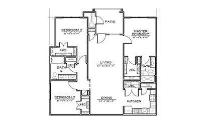 Yaupon - 3 bedroom floorplan layout with 2 bath and 1280 square feet
