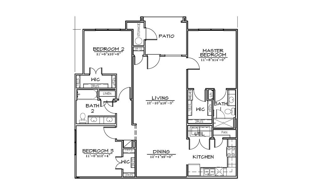 Yaupon - 3 bedroom floorplan layout with 2 bath and 1280 square feet (1st floor 2D)