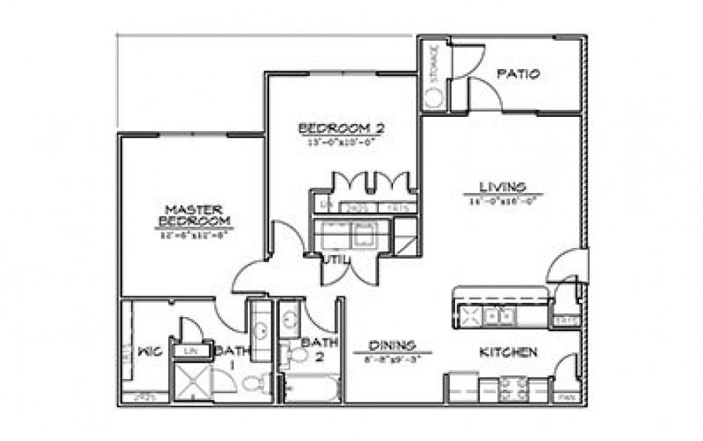 Redbud - 2 bedroom floorplan layout with 2 bath and 1070 square feet (1st floor 2D)